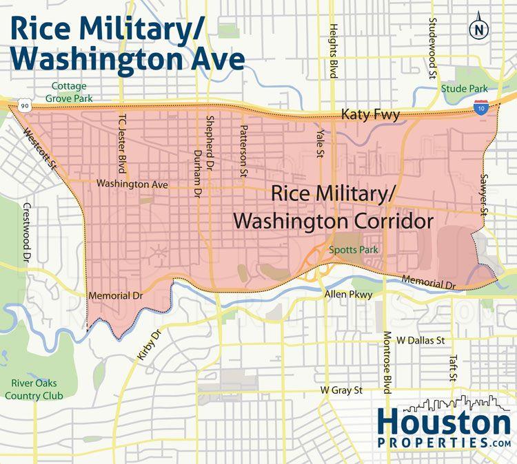 New Rice Military Houston inner neighborhood map Great Maps Of
