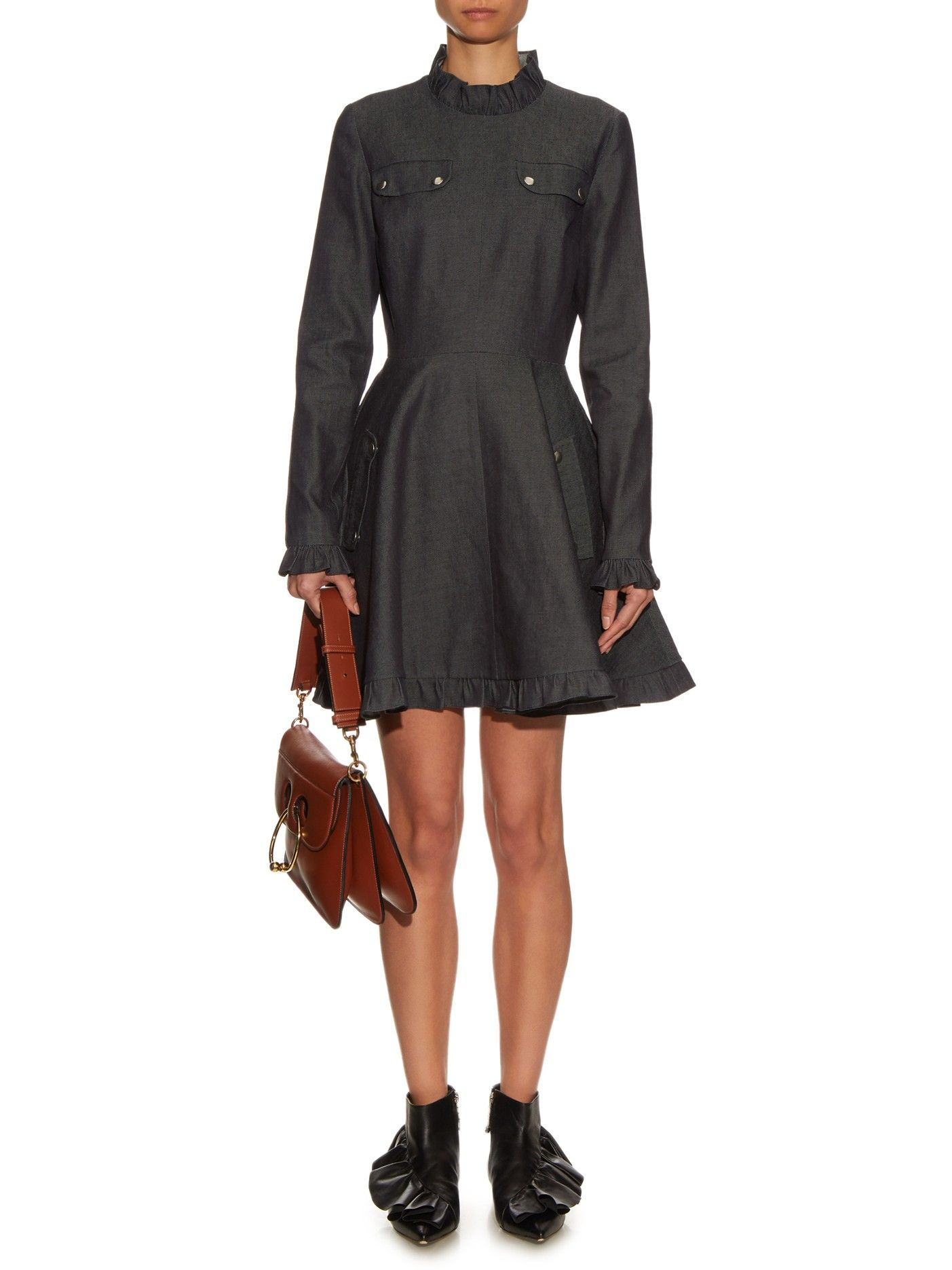 Ruffled denim dress | J.W.Anderson | MATCHESFASHION.COM US