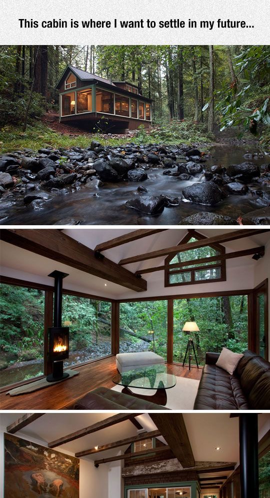 Dreamy cabin with a stream running alongside