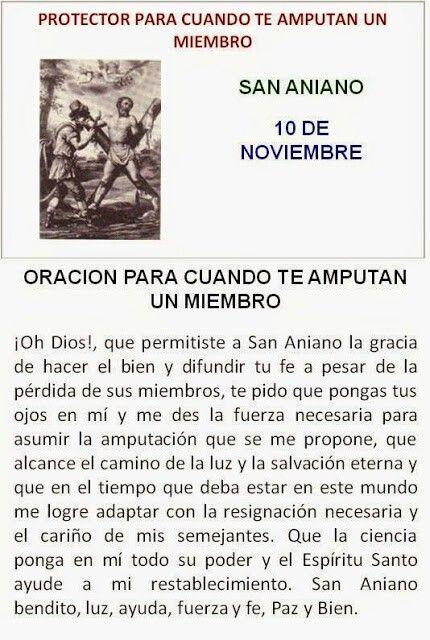 San Aniano, oración en amputaciones.