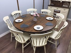 Large Round Farmhouse Table And Chairs 6,8 Seater Shabby Chic DELIVERY  AVAILABLE