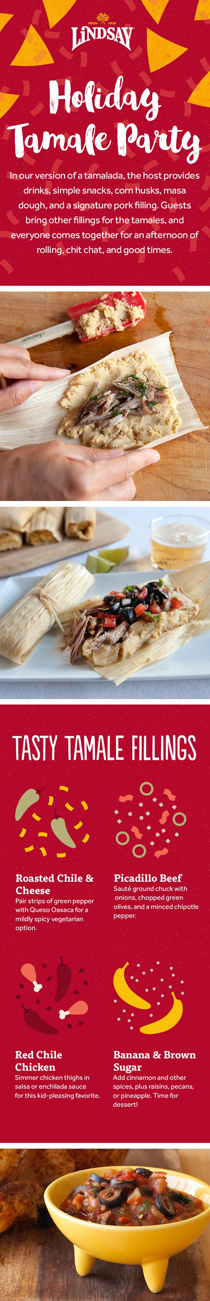 Make your holiday party a tamalada party! A tamalada is a traditional holiday tamale-making party featuring plenty of drinks and snacks. Get our guide to host a festive tamalada party this year! https://my.ilovelindsay.com/holiday-entertaining/tamale-fiesta