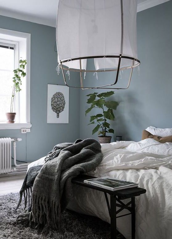 Blue grey bedroom via coco lapine design bedroom for Grey wall bedroom ideas