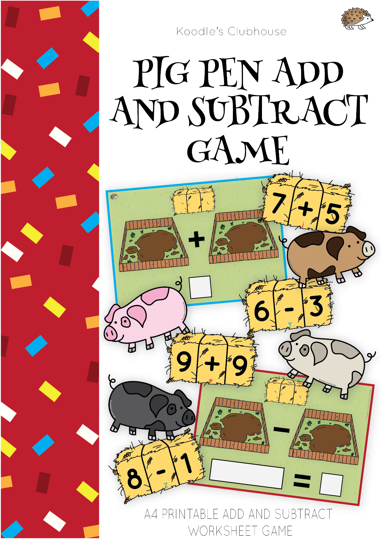 Pig Pen Printable Template Addition And Subtraction Game Pens Game Subtraction Games Addition And Subtraction [ 1759 x 1245 Pixel ]