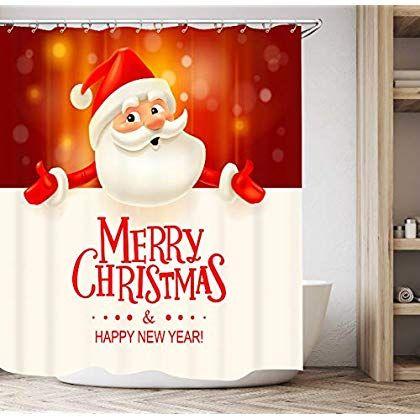 Get Orange Christmas Shower Curtain, Happy Santa Claus Festive