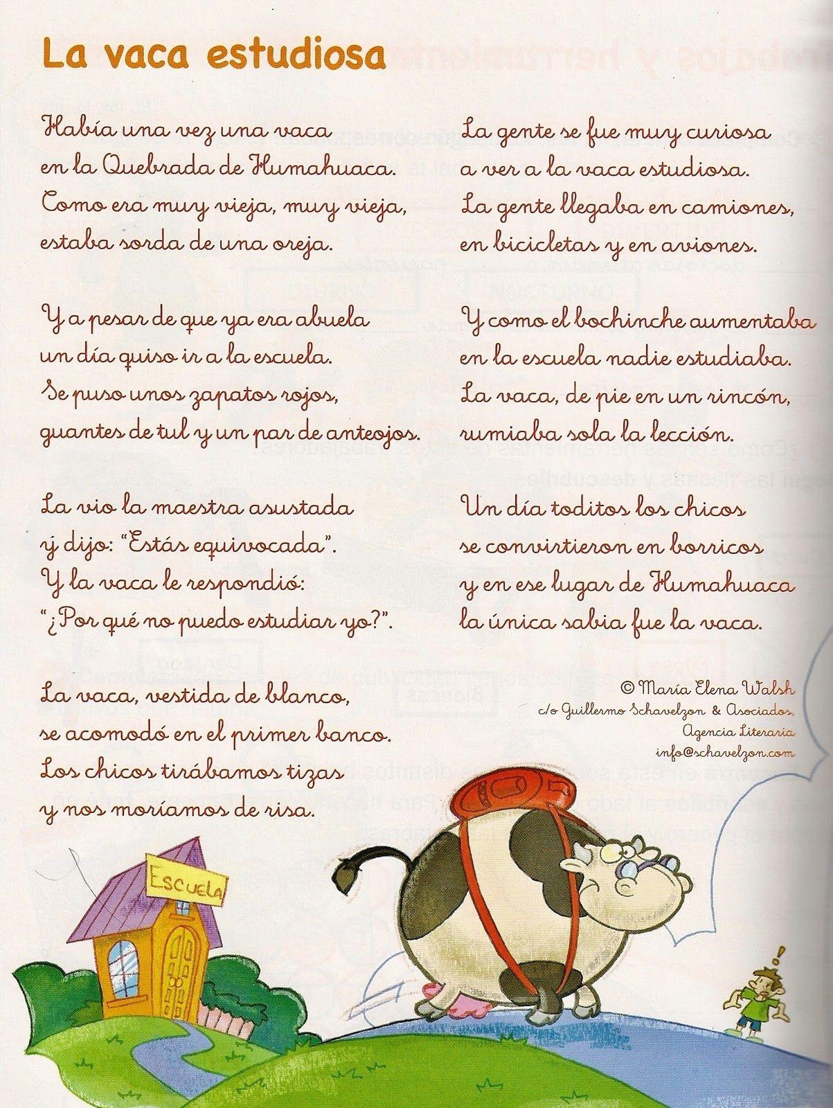 La Vaca Estudiosa Rimas Versos Y Estrofas Primer Ciclo