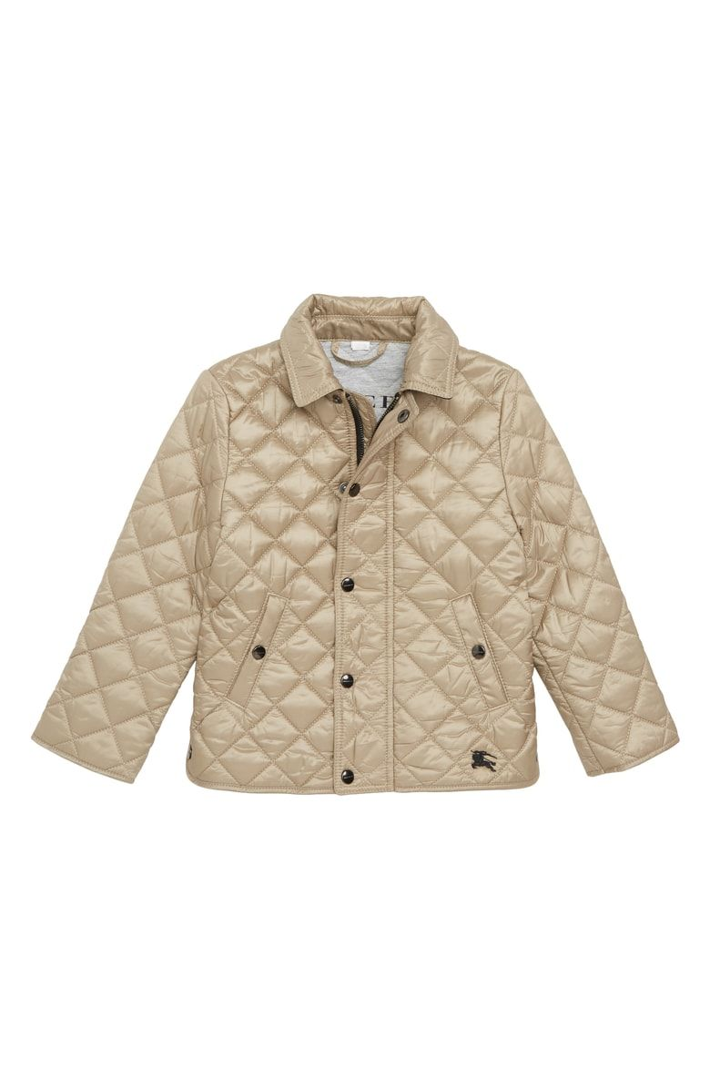 8409b7d0e49 Free shipping and returns on Burberry Diamond Quilted Jacket (Baby Girls)  at Nordstrom.com. Logo-engraved hardware and embroidery at the hem brand a  ...