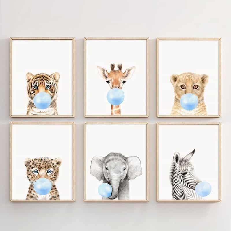 Animals Blowing Bubble Gum Posters 15 Blank Posters Nursery Decor Prints Safari Nursery Prints Nursery Animal Prints