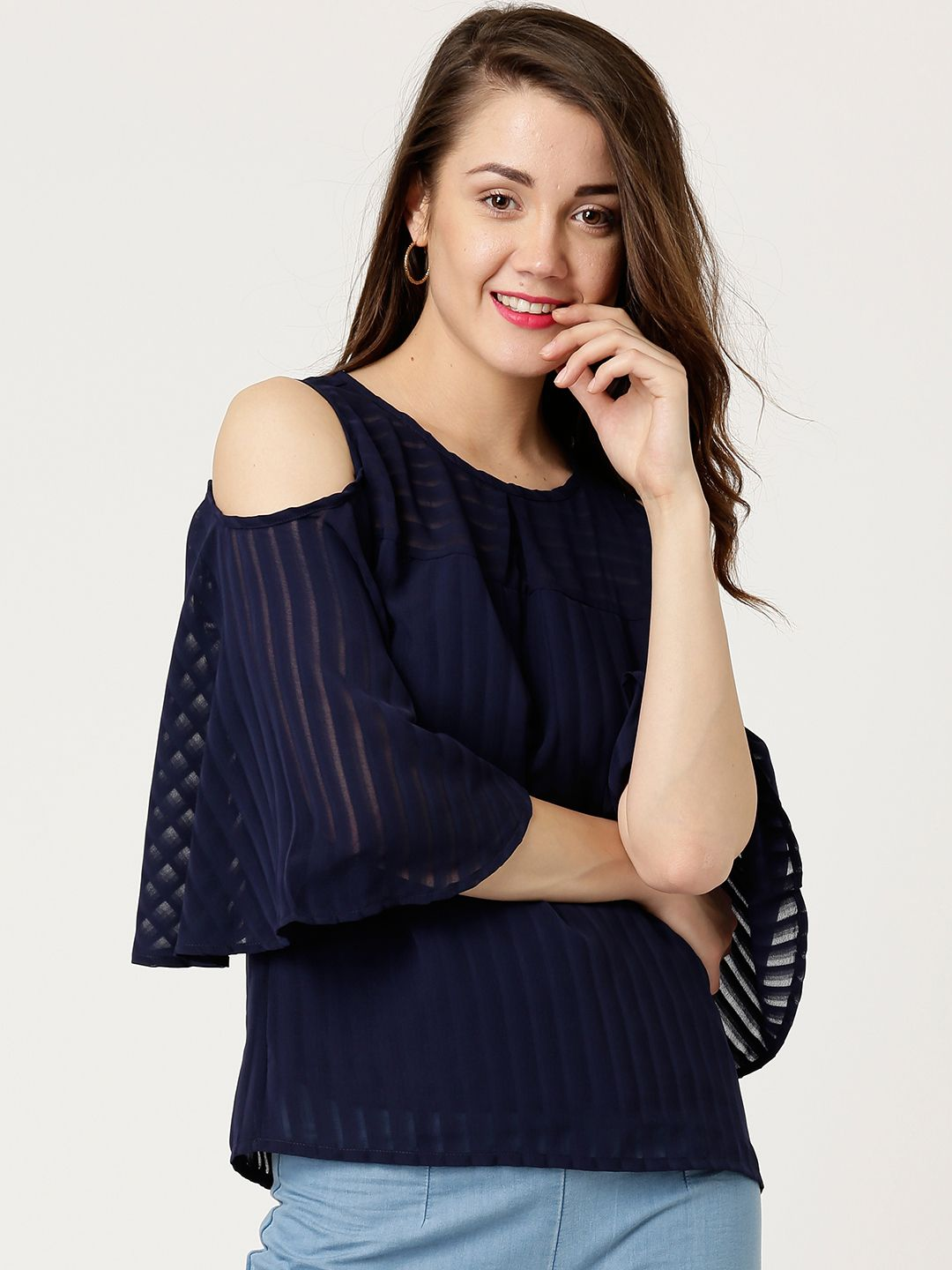 f518ae4f5cf628 Buy Marie Claire Women Navy Self Striped Cold Shoulder Top - Tops for Women  1575774 | Myntra