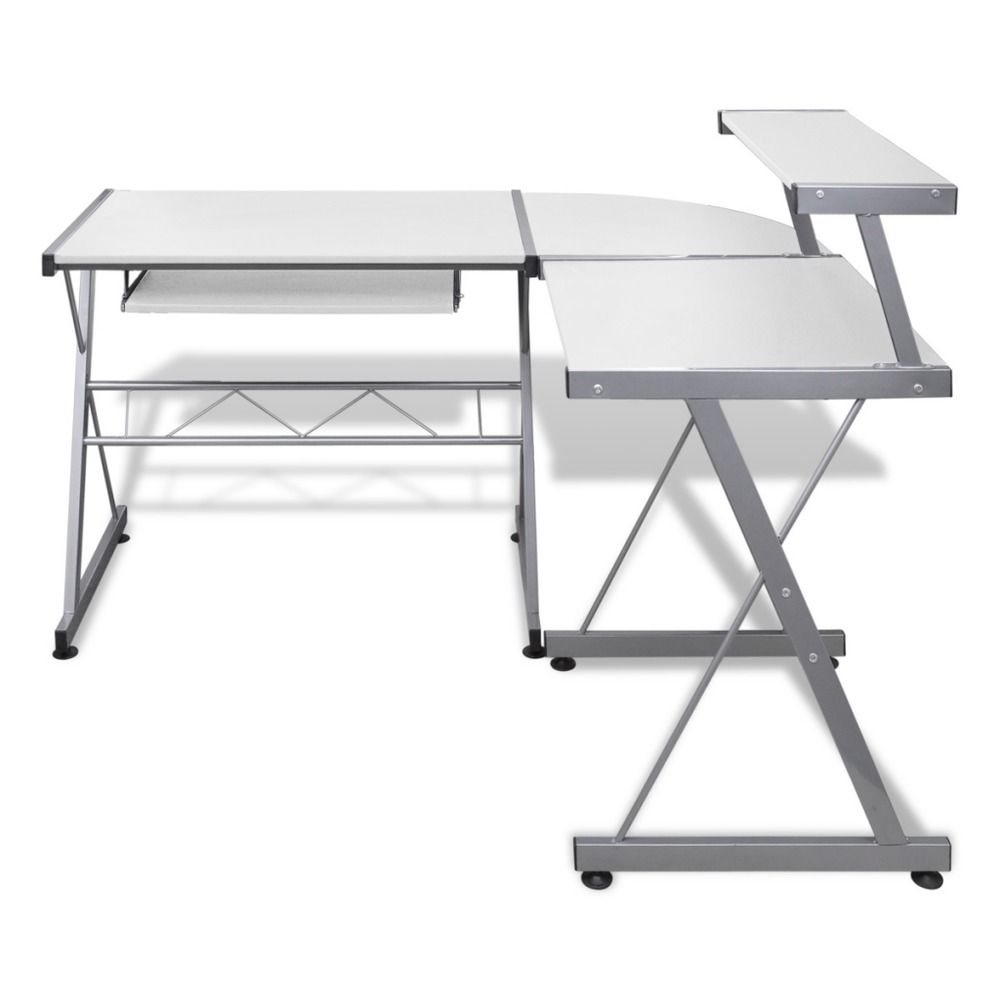 White Computer Desk Workstation Pull Out Keyboard Tray Compact Writing Space Unbranded Computer Desk Work Station Desk Office Workstations