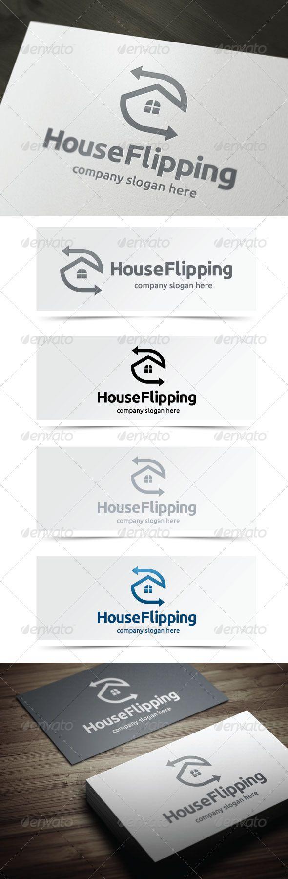 House Flipping Logo Design Template Vector logotype