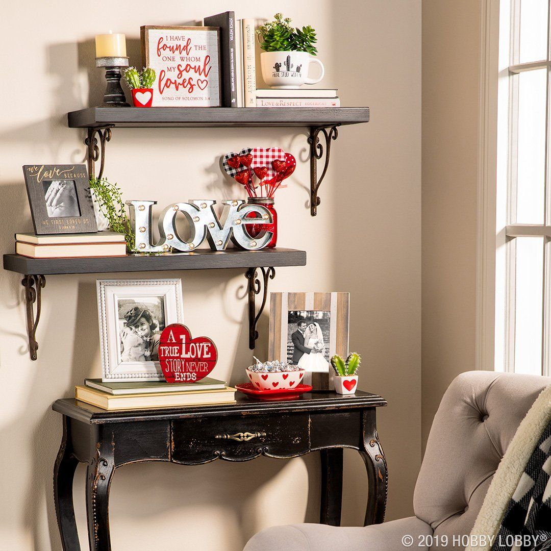 Showcase Your Love Story With A Cute Valentine S Day Display 1960s Home Decor Decor Traditional Shelves