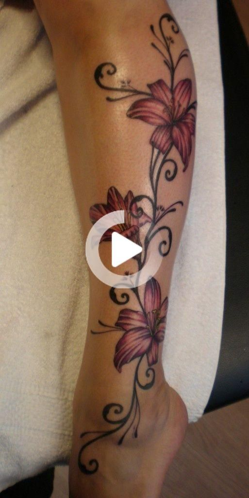 Lily tattoo on leg.
