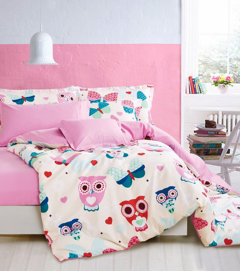 Find More Bedding Sets Information About Owl Duvet Cover Bird Bed Sheets  Yellow And Pink Bedding
