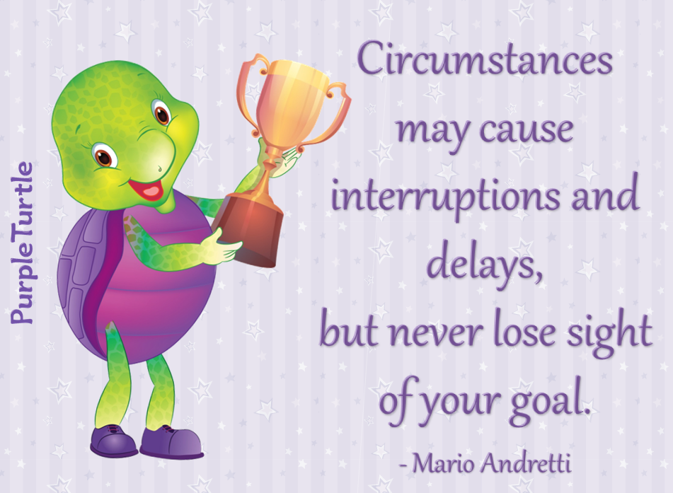 """""""Circumstances may cause interruptions and delays, but never lose sight of your goal."""" ~ Mario Andretti"""