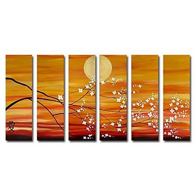 Hand-painted Oil Painting Landscape Oversized Wide - Set of 6 - Wall Art Ideas