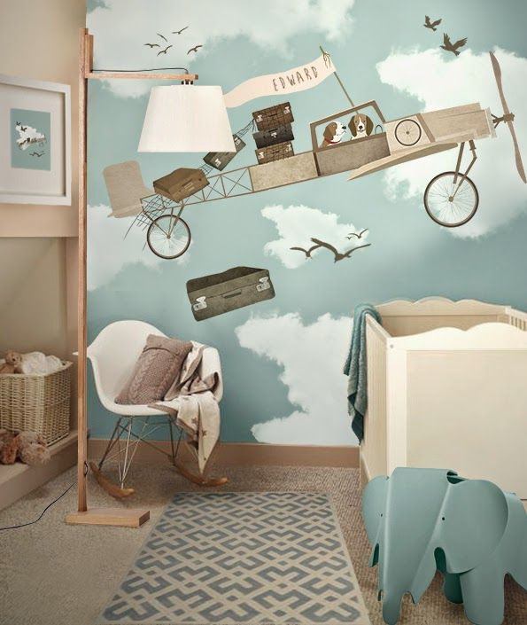 Wallpaper cloud nuage chambre enfant kidsroom garçon design bleu