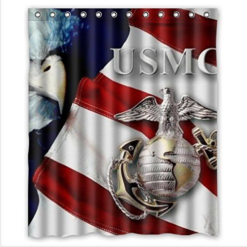 Personalized Cool United States Marine Corps USMC Pattern Waterproof Mouldproof Bathroom 100 Polyester Shower Curtain 60Wx72Hinchs