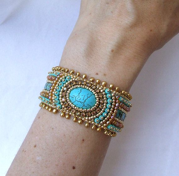 Beading pattern bracelet bead embroidery by redtulipdesign