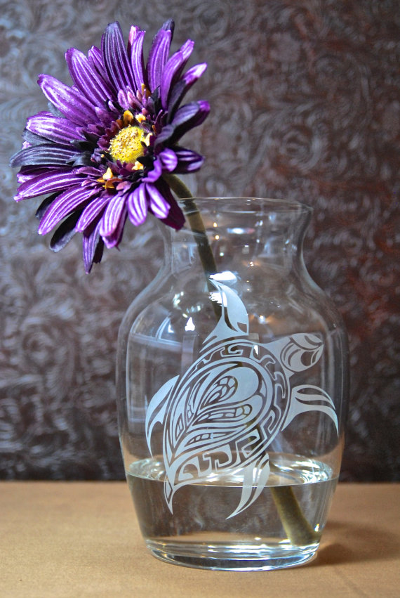 Tribal Sea Turtle Vase Glass Etched Vase Etched Glass Gifts