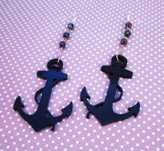 DEEP SEA DIVING Huge Black  Anchor Charm by IMPARTANDACCESSORIES, $14.95