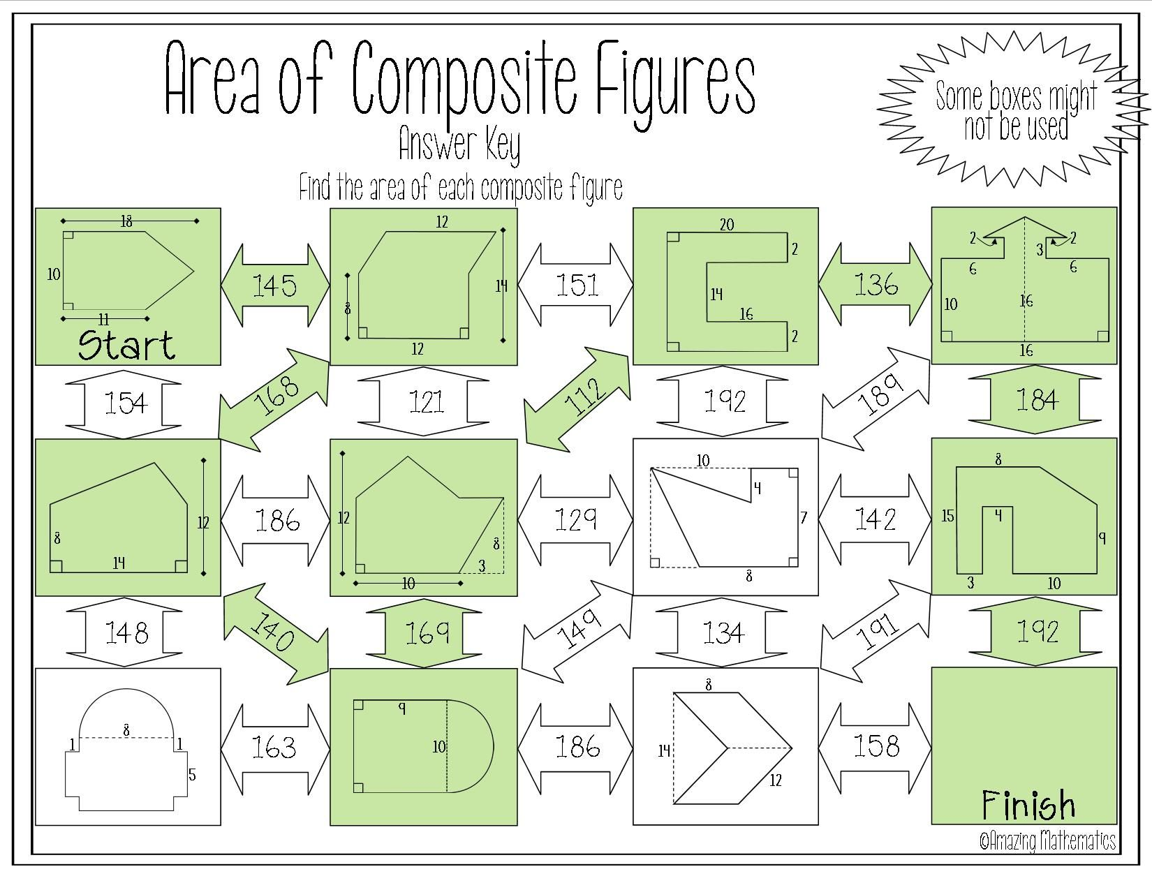 Area of Composite Figures Worksheet - Maze Activity   7th grade math [ 1275 x 1650 Pixel ]