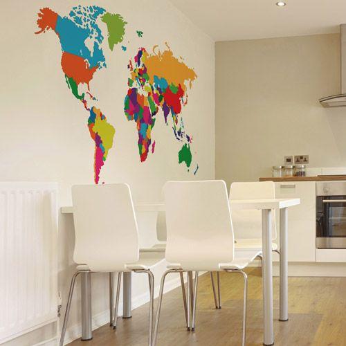 Vinilo decorativo con mapa para colocar en un comedor - Vinilos decorativos para comedor ...