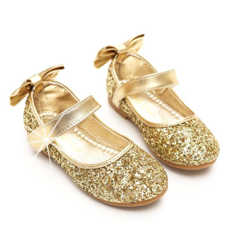 2017 new fashion gold silver Children's Princess girls shoes Casual shoes  with flat shoes for kids