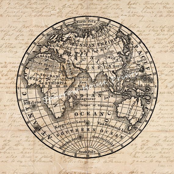 Antique Earth Globe Map Artwork Eastern Hemisphere Wall Art Vintage Print with Aged Script Paper Style Background No.3572 B9 8x8 8x10 11x14 @ sparrowhouseprints.etsy.com