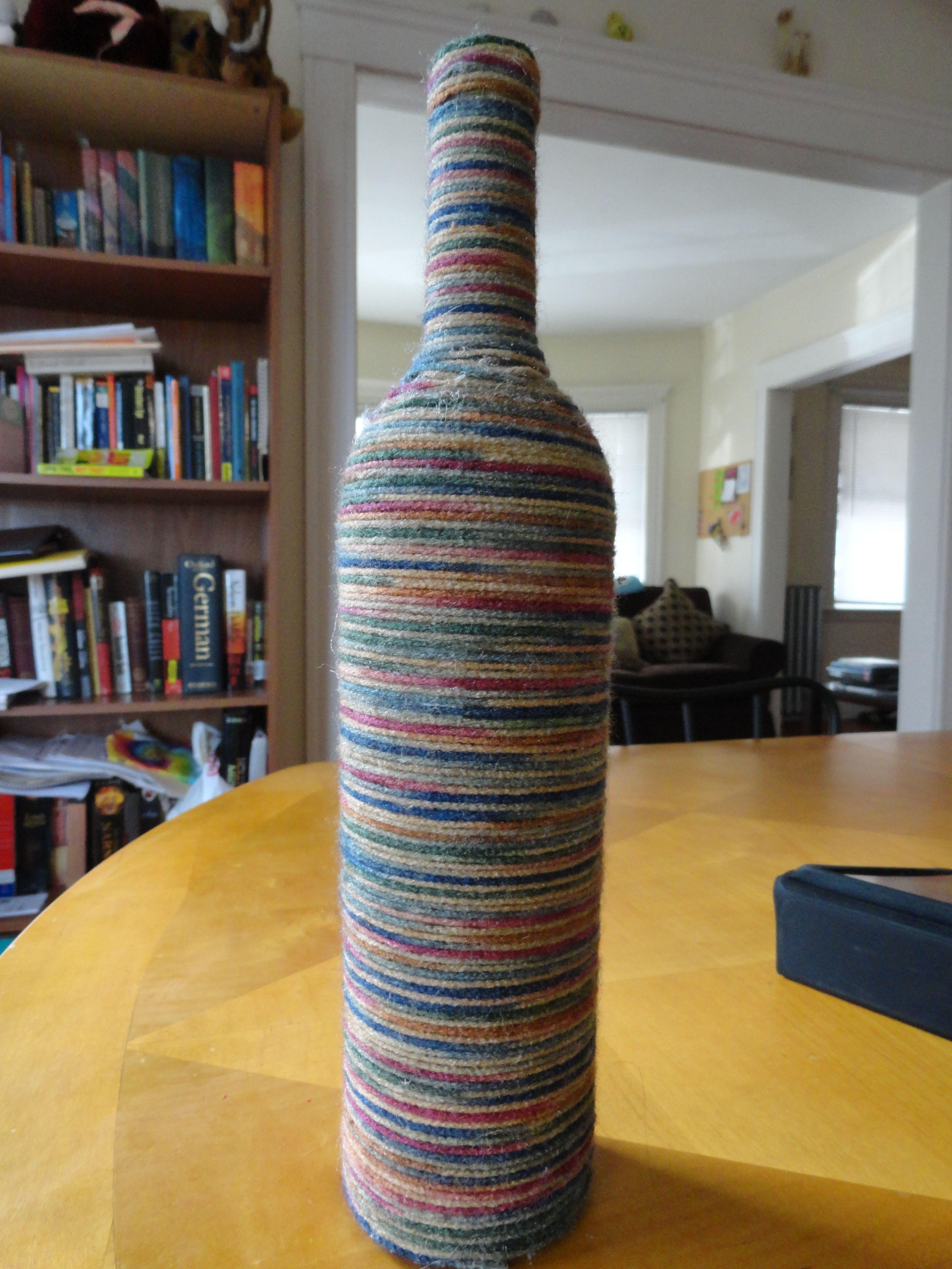 Diy Wine Bottle With Yarn Craft Home Decor Ideas Pinterest