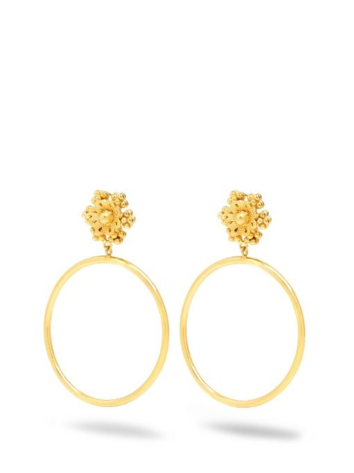 Dolce Gabbana Flower Embellished Clip On Hoop Earrings Dolcegabbana