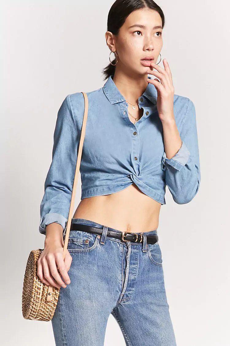 b4ed8ddc841 Denim Twist-Front Crop Top   crop tops / bodysuit   Crop tops, Tops ...