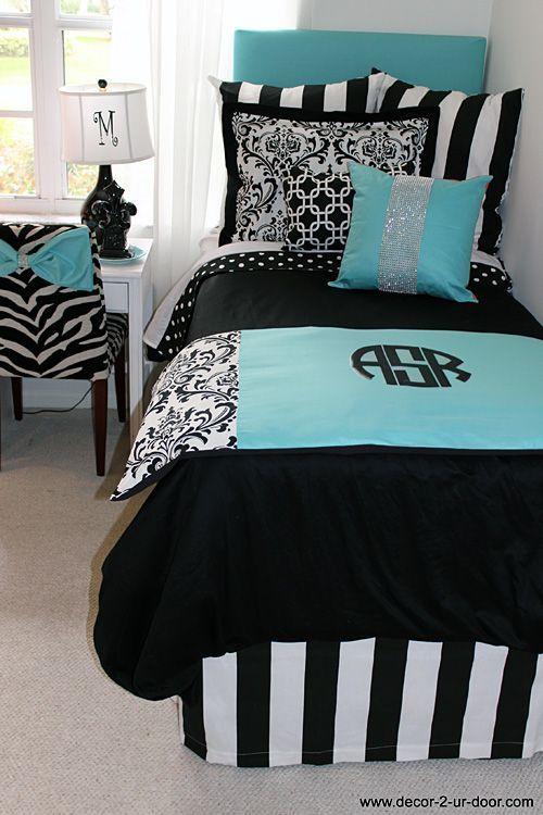 Superb Tiffany Blue U0026 Black Damask Designer Dorm Bedding Set Part 6