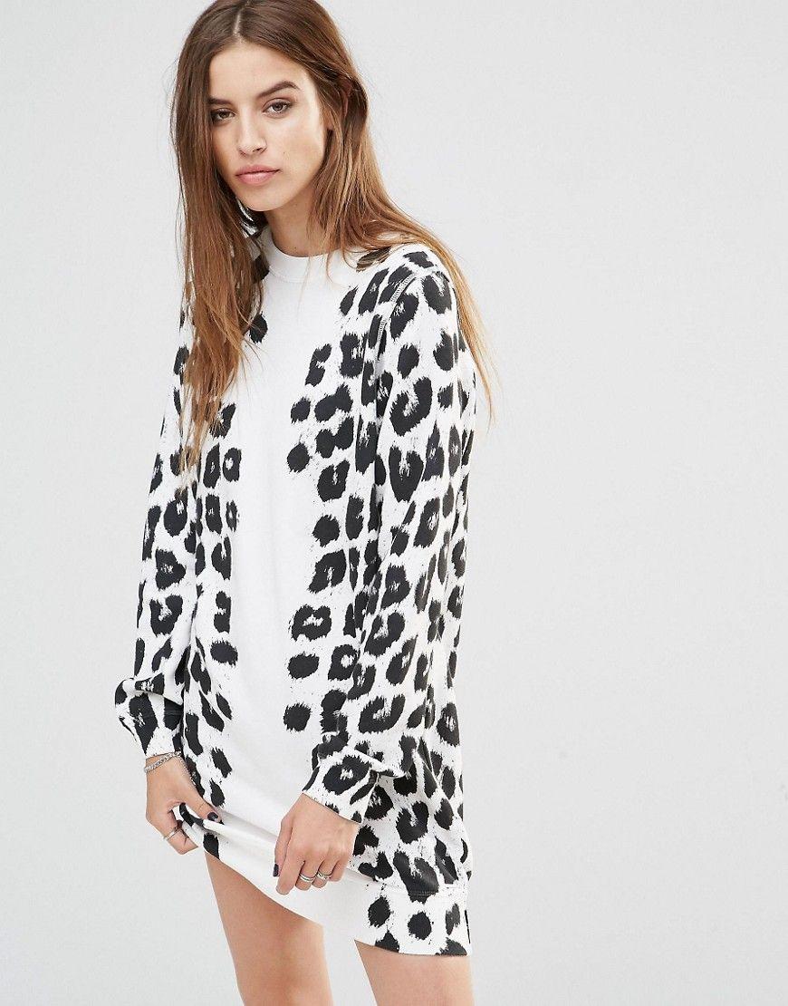 Leopard Print Dress By Diesel White Color Cotton Rich Knit Round Neckline Slighty Dropped Leopard Print Dress Outfit Leopard Print Dress Printed Dress Outfit [ 1110 x 870 Pixel ]