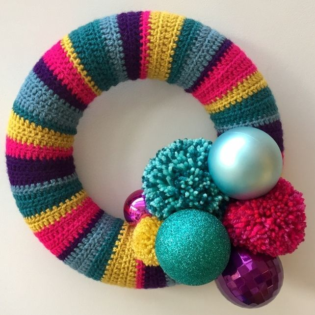 Crochet Christmas wreath, pompom wreath, bauble wreath, free UK shipping £30.00... #baublewreath