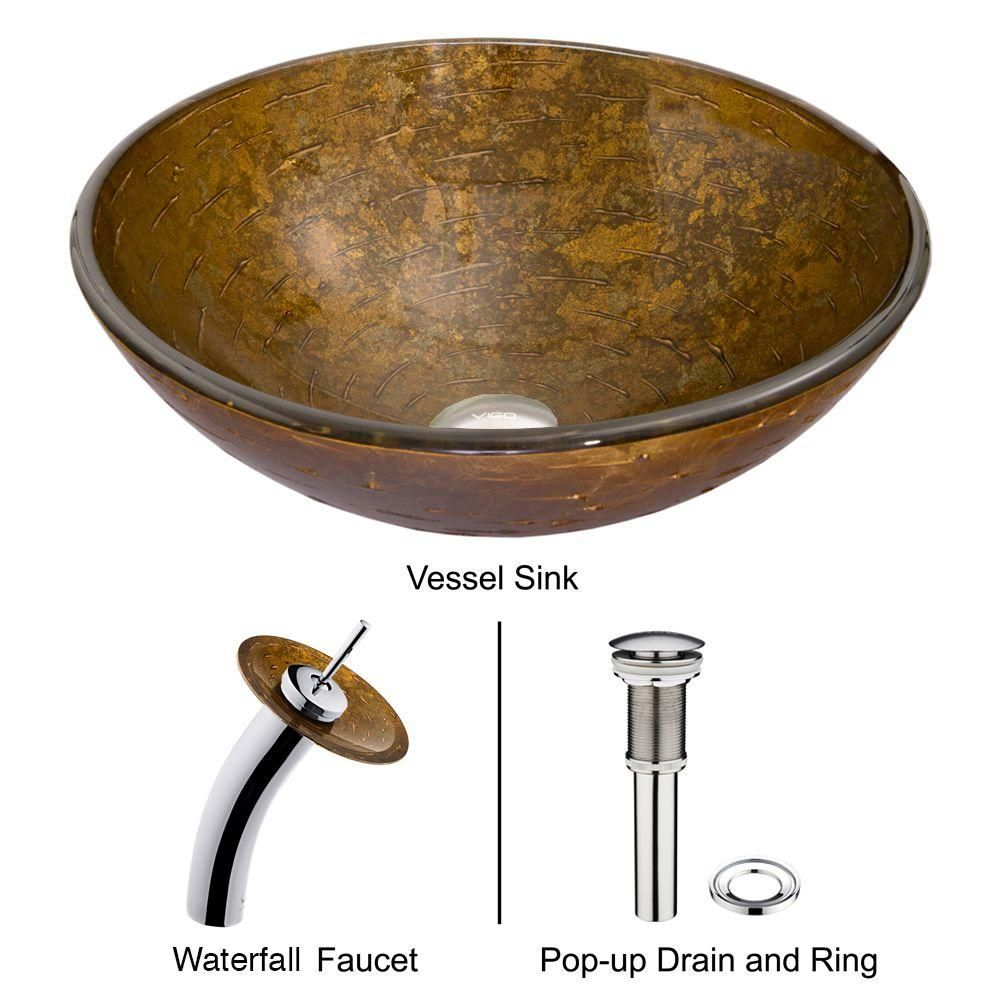Vigo Textured Copper Vessel Sink With Waterfall Faucet In Chrome