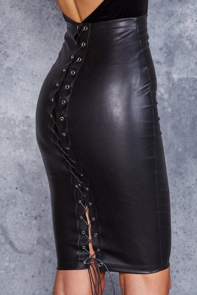 Black faux leather zip hobble pencil skirt goth clubwear