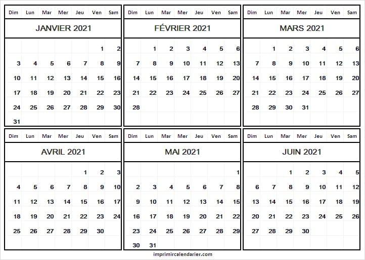 Calendrier Janvier a Juin 2021 Avec Semaine   Calendrier 2021