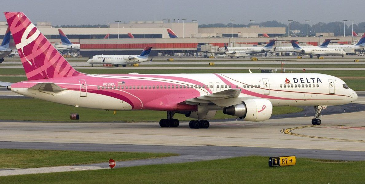 Pink airplane - breast cancer - melbourne international airport