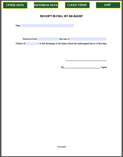 Sample Receipt In Full By An Agent Free Fillable Pdf Forms Accounting Receipt Template Receipt