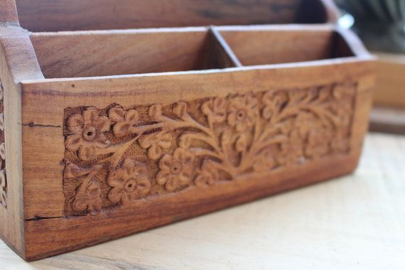 Vintage Wooden Desk Organizer With A Hand Carved Floral Motif Made In India Vintage Wooden Desk Wooden Desk Organizer Desk Organization