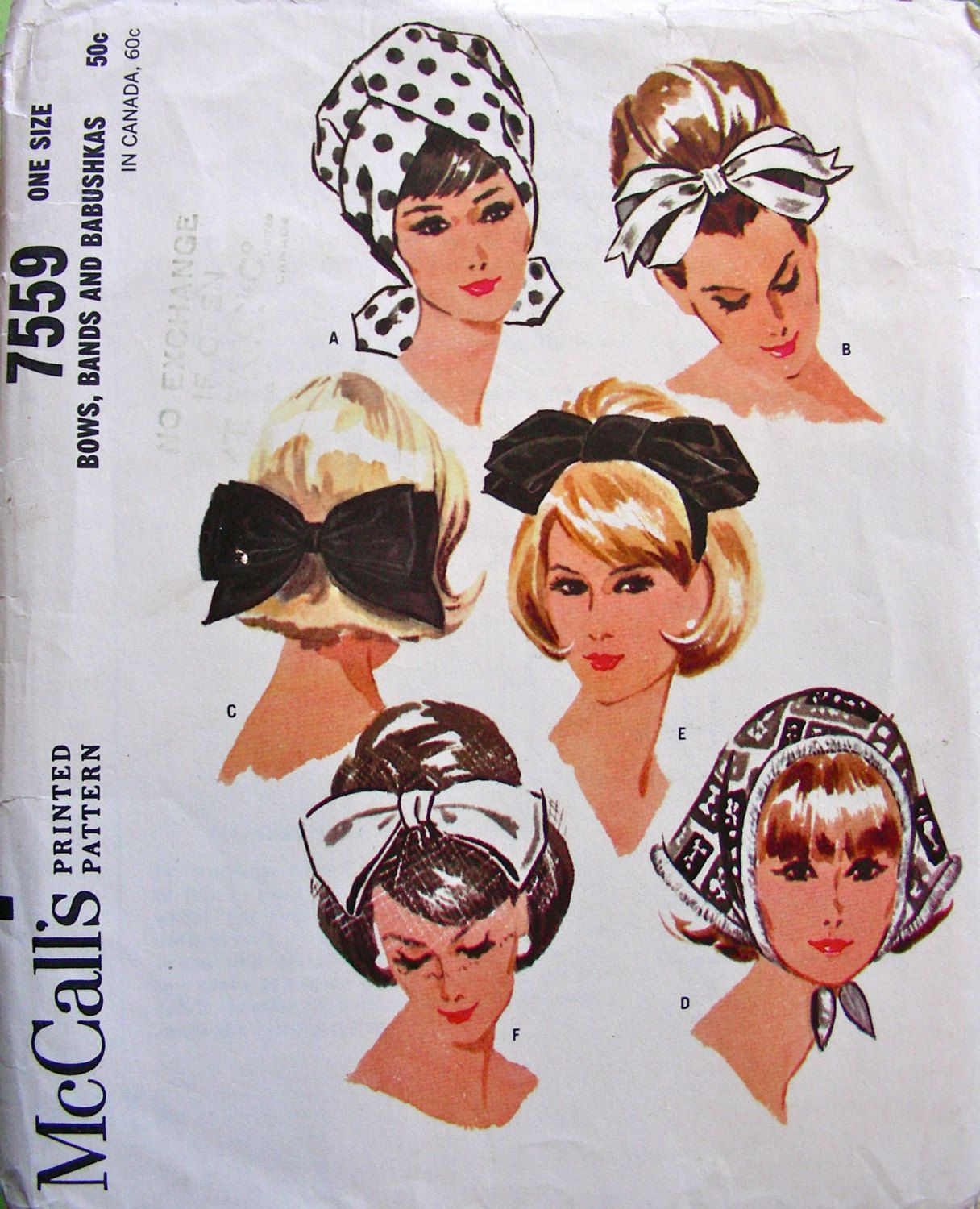 1960s Vintage McCalls Hat Pattern 7559- BOWS, BANDS and BABUSHKAS Sewing Pattern - One Size