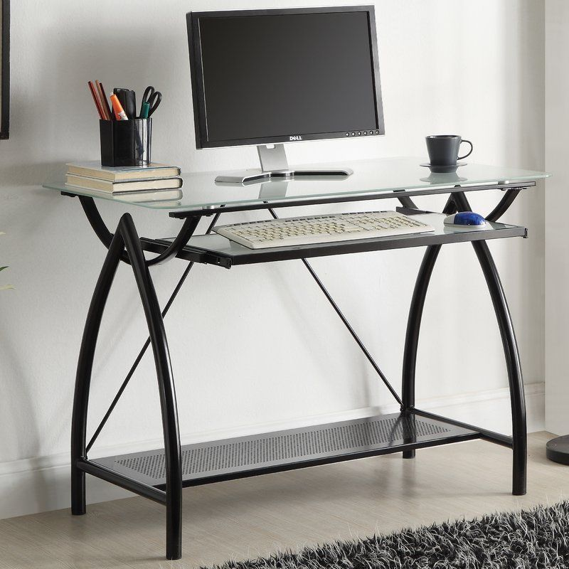 Bonita Glass Computer Desk Desk With Keyboard Tray Glass Top Desk Osp Home Furnishings