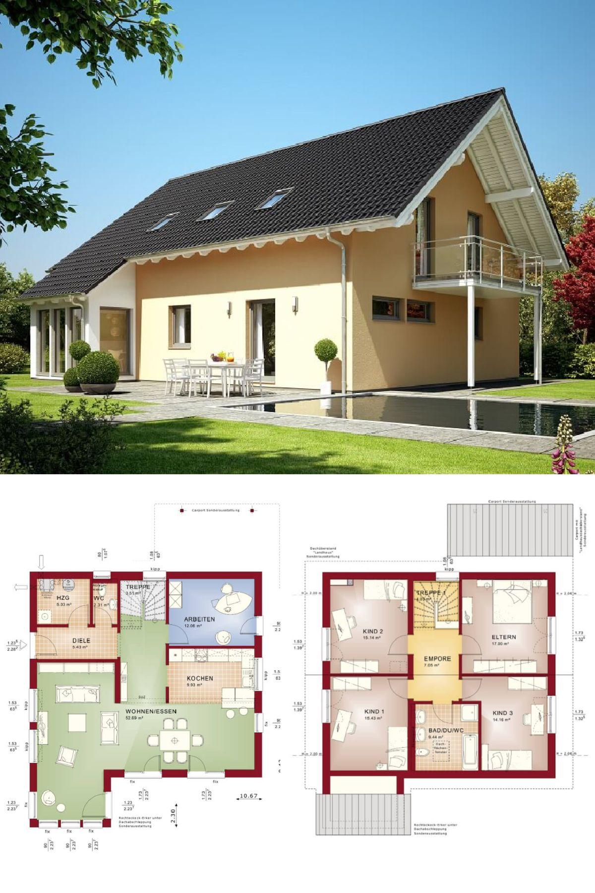 Einfamilienhaus Mit Satteldach   Haus Evolution 165 V6 Bien Zenker    Fertighaus Bauen Grundriss Modern Offene