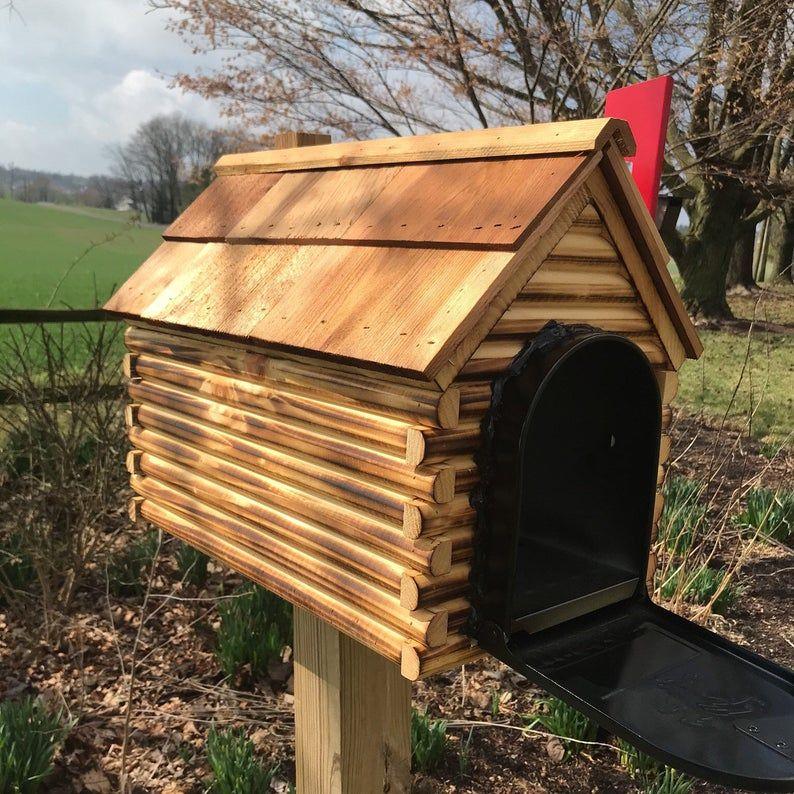 Wooden Log Cabin Mailbox with Metal Insert Cedar Roof