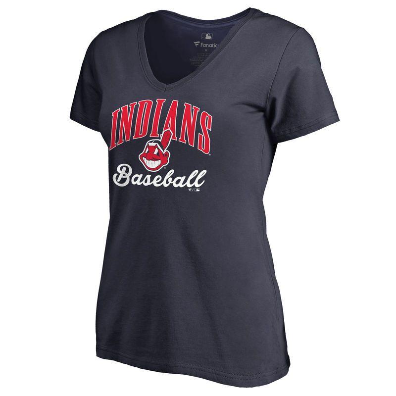 Cleveland Indians Women's Victory Script Slim Fit T-Shirt - Navy