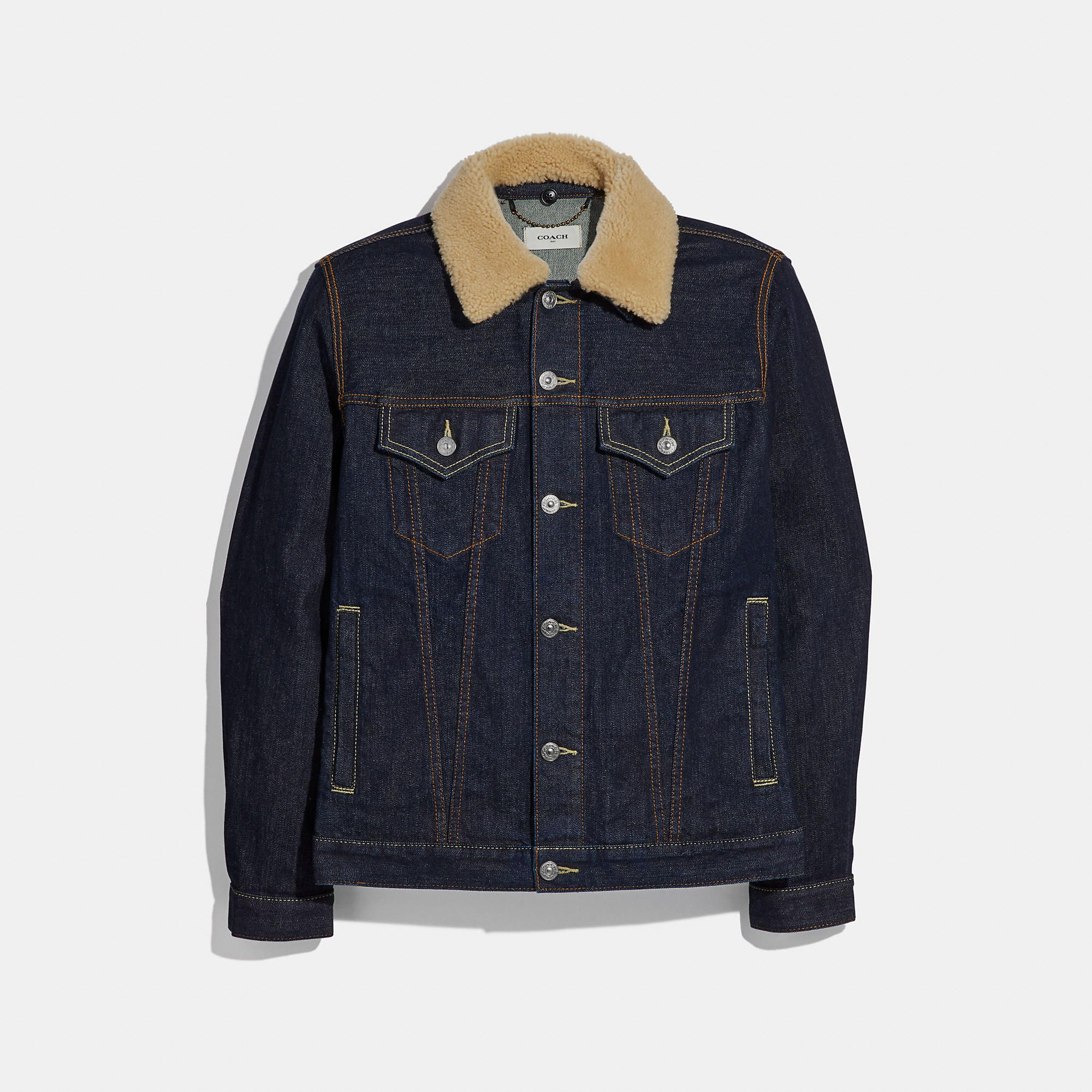 Coach Official Site Designer Handbags Wallets Clothing Menswear Shoes More In 2021 Denim Jacket Denim Jacket Men Shearling Collar [ 2000 x 2000 Pixel ]