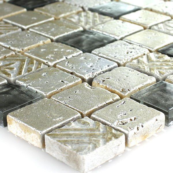 Details Zu Kalkstein Glas Mosaik Fliesen Silber Grau Xxmm - Mosaik fliesen grau mix
