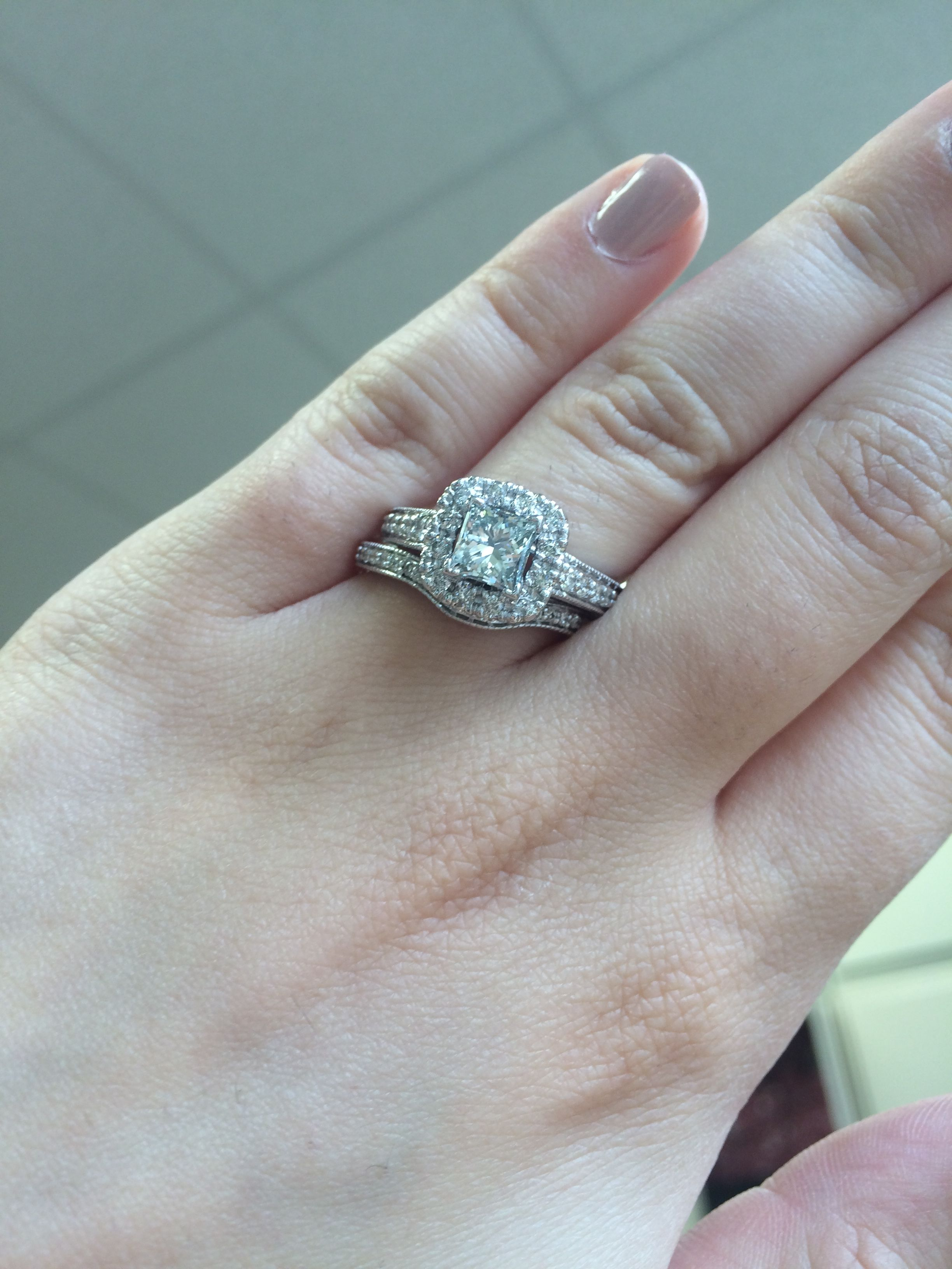 Rings on Hand Bridal Set BR708W (Engagement Ring and