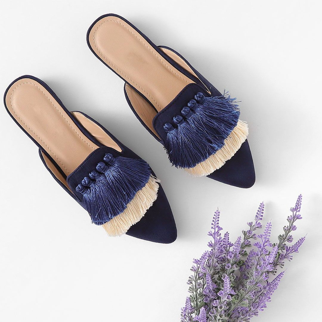 Mix & Match Tassel Detail Color Block Mule Flats